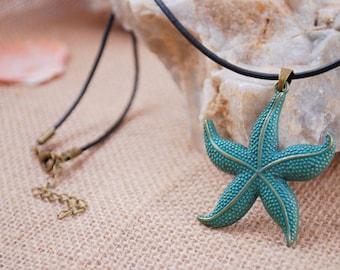 Big bronze patina starfish necklace, black leather cord pendant, sea star choker, summer jewellry