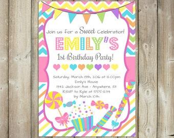 GIRL BIRTHDAY INVITATION - Candy Birthday Invite - Candyland - Digital File