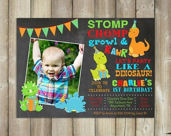 Dinosaur Birthday Invitation - Boy's Birthday Invite - DIGITAL FILE