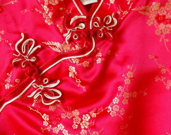 1990s Red Traditional Qipao Dress