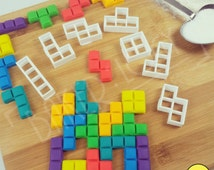 FULL set Tetris blocks inspired cookie cutters (7 pieces) | biscuit cutter | one of a kind ooak
