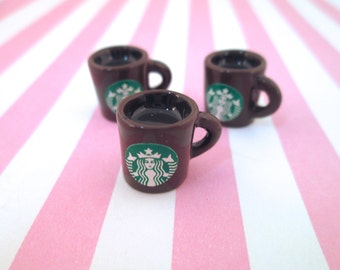 Miniature Brown Starbucks Coffee Cup Cabochons