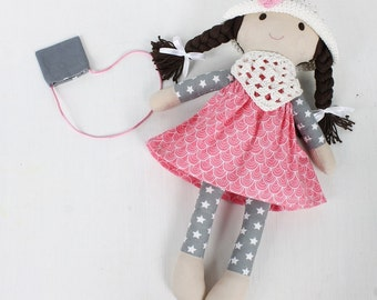 Fabric doll, doll with crochet hat and scarf, rag doll, doll for girls