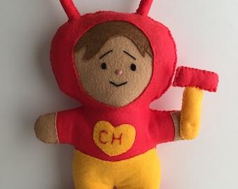 Chapulin Colorado, Mexican Hero, Felt hero, Felt toy, The Red Grasshopper