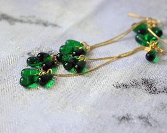 emerald earrings dark green earrings gold jewelry girlfriend gift for her earrings romantic earrings wife gifts for daughter bohemian пя155