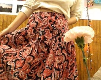 70's Boho  Paisley Yolk Skirt