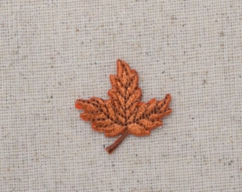 Mini - Tree Leaf - Fall - Autumn Brown - Embroidered Patch - Iron on Applique - 695563A