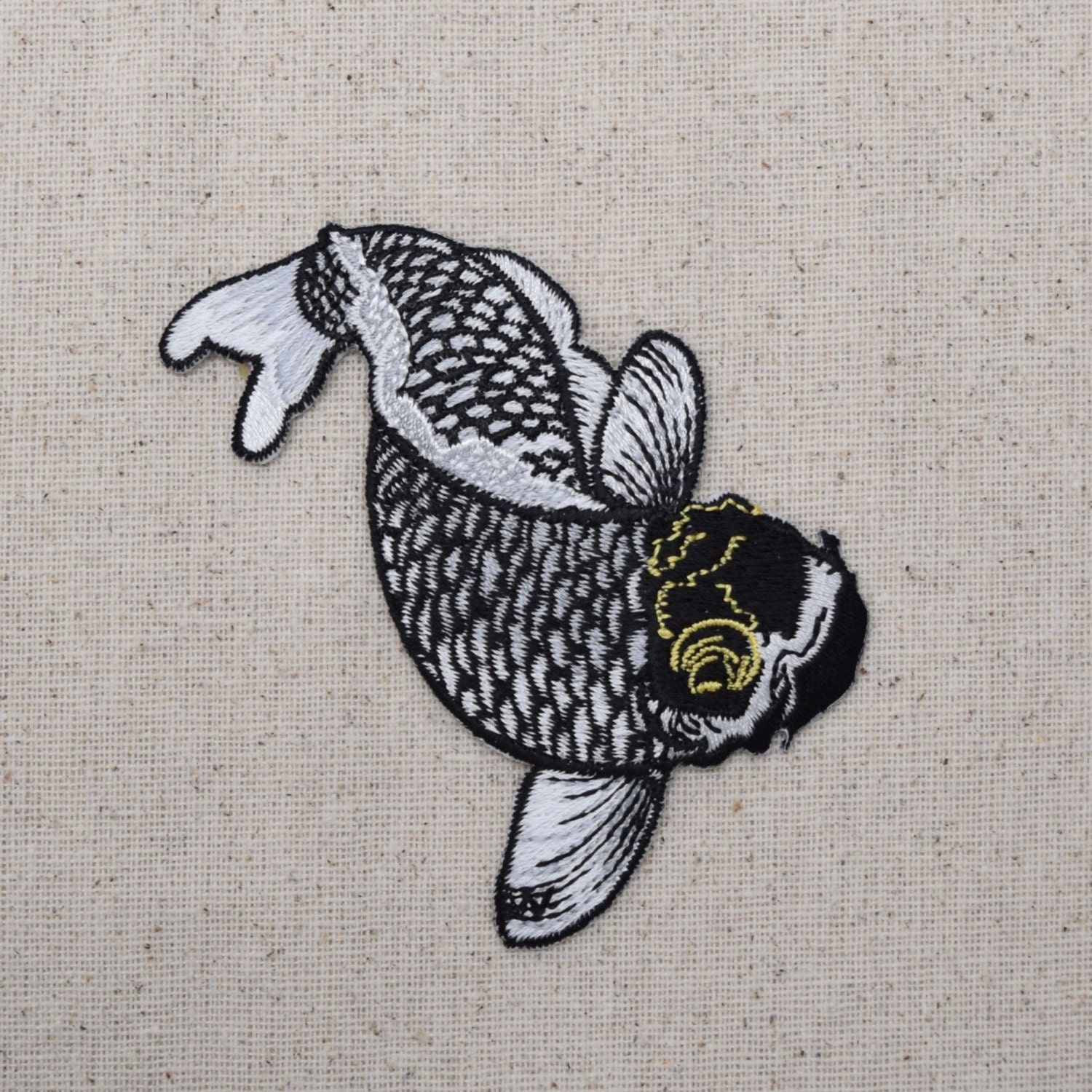 Koi fish black white gold iron on applique embroidered for Black and gold koi