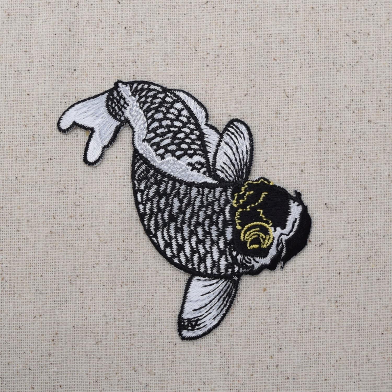 Koi fish black white gold iron on applique embroidered for Black and gold koi fish