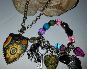 Boho chic Necklace and bracelet set of 2 with giftbox