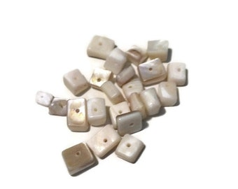 White Beads - Shell Beads - Square Beads - Beads - Jewelry Supplies