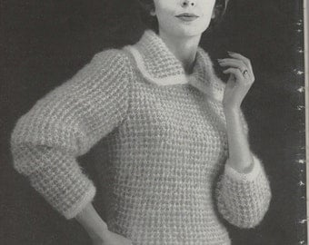 Womens Retro Two Tone Pullover Knitting Pattern from the 60s