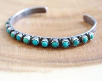 Vintage Turquoise Bracelet // Sterling Silver // Cuff Bracelet // Southwestern Jewelry // Native American Bracelet // Boho Jewelry