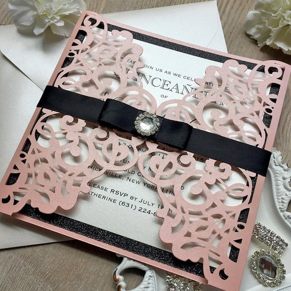 VANESSA - Pink Laser Cut Quince Invitation - Pink Shimmer Gatefold with Black Glitter and Black Ribbon Bow with Crystal Button - Sweet 16