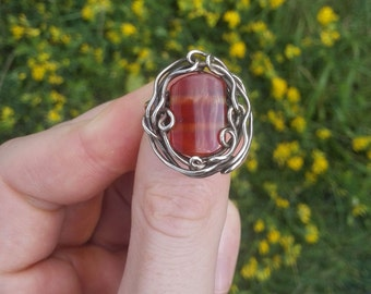 Ring of German silver with carnelian, handmade