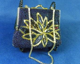 Dark blue iridescent beaded handbag evening bag