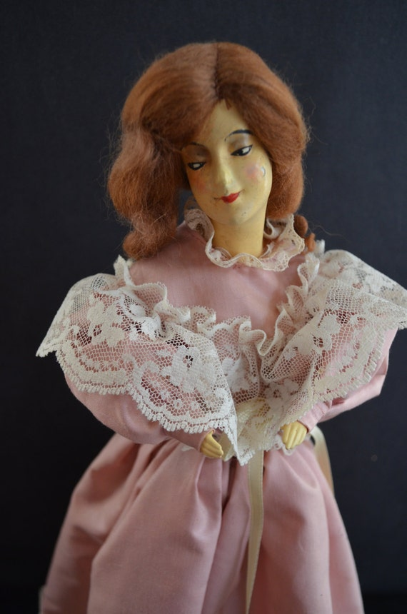 Boudoir Doll Lamp Antique French Chalk Ware Doll Composition