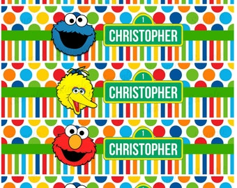Sesame Street Water Bottle Label - Elmo Cookie Monster Big Bird Printable - Digital - Birthday Party -  Personalized Customized