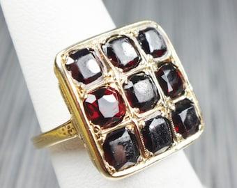 Vintage Ring Garnet Ring Art Deco Ring Vintage Garnet Ring Deep Red Garnet January Birthstone Ring Circa 1930 Heavy 14k Gold Ring Size 5 1/2