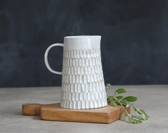 Handmade Carved White Jug