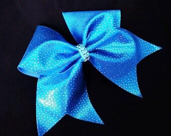 Teal blue cheer bow, sequin cheer bow, cheer bow, cheerleader bow, cheerleading bow, softball bow, dance bow, cheer bows, blue cheer bow