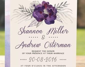 Wedding invitation purple, Purple wedding invitation, Wedding invitation watercolor, Wedding invitation floral, Wedding invitation rustic