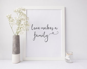 "PRINTABLE Art ""Love Makes a Family"" I love us Typography Art Print Typography Poster Inspirational Quote Home Decor Family is everything"