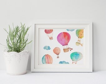 PRINTABLE Art Watercolor Hot Air Balloon Nursery Decor Hot Air Balloon Art Print Home Decor Nursery Art Print Hot Air balloon Clouds