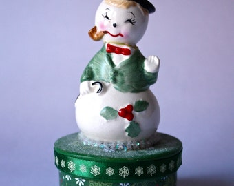 Upcycled Vintage Snowman 1950s salt shaker atop a Holiday Decoupaged Box