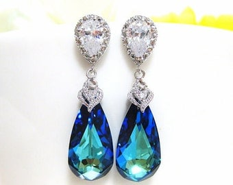 Bermuda Blue Swarovski Crystal Teardrop Earrings Wedding Jewelry Bridesmaid Gift Bridal Earrings Blue Earrings (E002)
