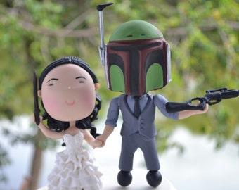 Witch and Bounty Hunter wedding. Themed cake topper. Wedding figurine.  Handmade. Fully customization.