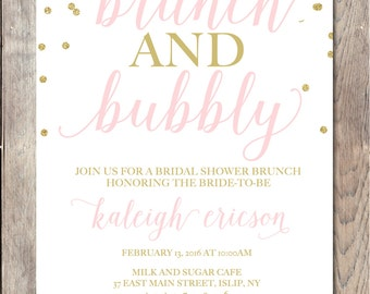 Bridal Shower Invitation, Bridal Shower Invite, Brunch Invitation, Bridal Shower Brunch, Brunch and Bubbly, Bridal Shower, Bride To Be