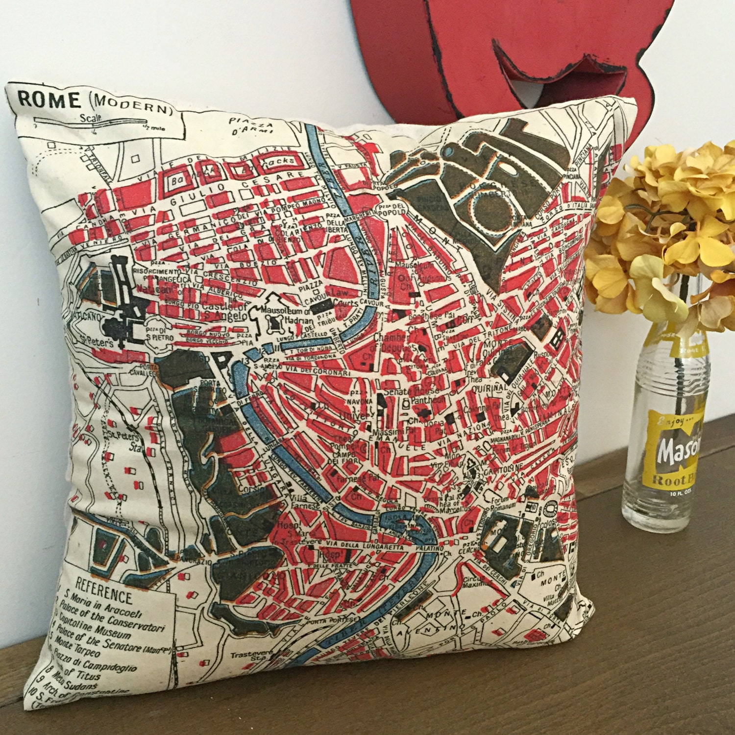 Decorative throw pillows rome map fabric throw by - Fabric for throw pillows ...