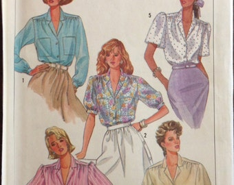 Simplicity 7855 - 1980s Notched Collar Button Front Blouse with Shoulder Yoke - Size 12 14 16