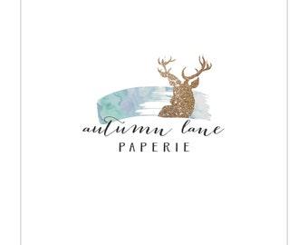 Pre-Made Logo - Premade Logo - Watercolor Logo - Deer Logo - Glitter Logo - Rustic Logo - Shabby Chic Logo