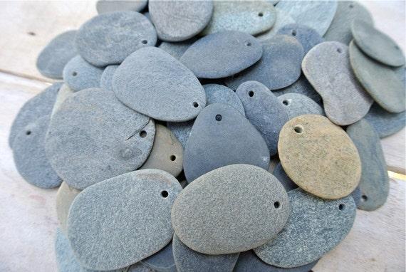 Drilled flat beach stones flat beach pebbles stones for for Flat stones for crafts