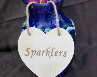 Sparklers Wedding Sign, Wood Heart Sign, Rustic Wedding Heart Sign, Wedding Table Decor