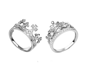 king and queen crown ring set king and queen rings set king ring silver crown ring set crown sterling silver ring crown jewerly crown set