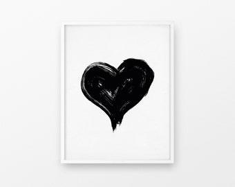 Heart Print, Black Ink Heart, Watercolor Heart, Black and White Heart, Watercolour Heart, Grunge Heart, Paint Stroke Heart, Modern Office