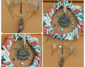 Sun Dream Catcher, Upcycled Dream Catcher, Lace Dream Catcher, Upcycled Lace Dreamer, Unique Gypsy Dream Catcher, Boho Dream Catcher - 00143