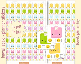 scale planner stickers - instant download - printable happy kawaii scale stickers - commercial use allowed - weight diary - health journal
