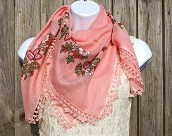 Coral Turkish Yemeni Scarf - Turkish Oya Scarf -  Needle Crochet Yemeni - Handmade Shawl