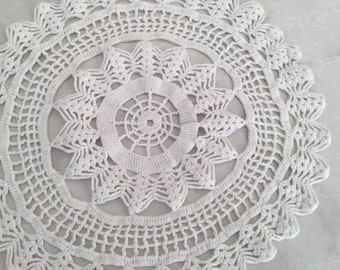 1960's Crocheted White Doily  35cm circular.