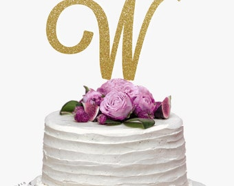Initial Glitter Wedding Cake Topper