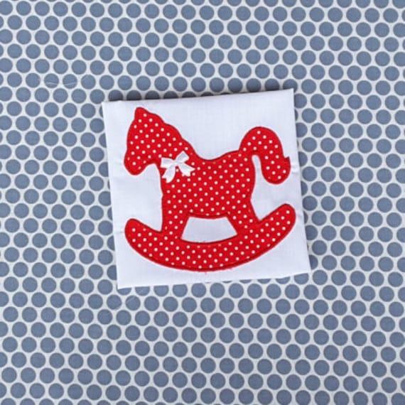 Applique machine embroidery design baby rocking horse