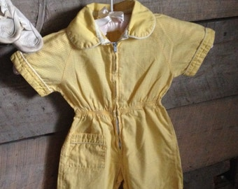 1950's Gingham Yellow Baby Jumpsuit