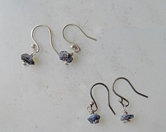 Raw Sapphire earrings - Sapphire earrings - raw crystal earrings - edgy earrings - September birthstone - unusual earrings - silver sapphire