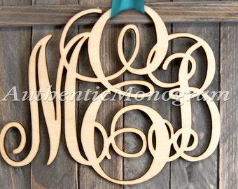 Wooden Monogram Unpainted - Wedding Decor - Initial Monogram - Door Hanger - Nursery Monogram 1101