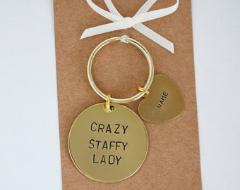 Crazy Staffy / Staffie Lady Hand stamped Keyring, Personalised with dogs name(s)
