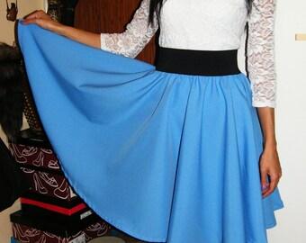 flared skirt sun different colors black belt